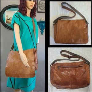 VTG Fossil Leather Messenger Bag